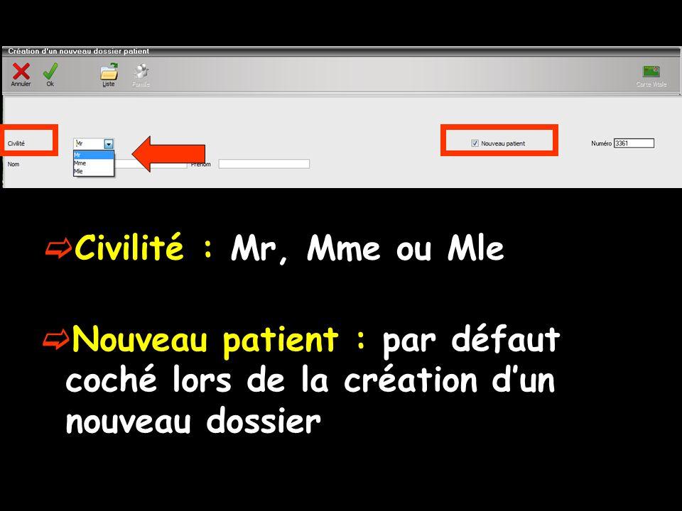 Civilité : Mr, Mme ou Mle Nouveau patient : par défaut coché lors de la création d'un nouveau dossier.