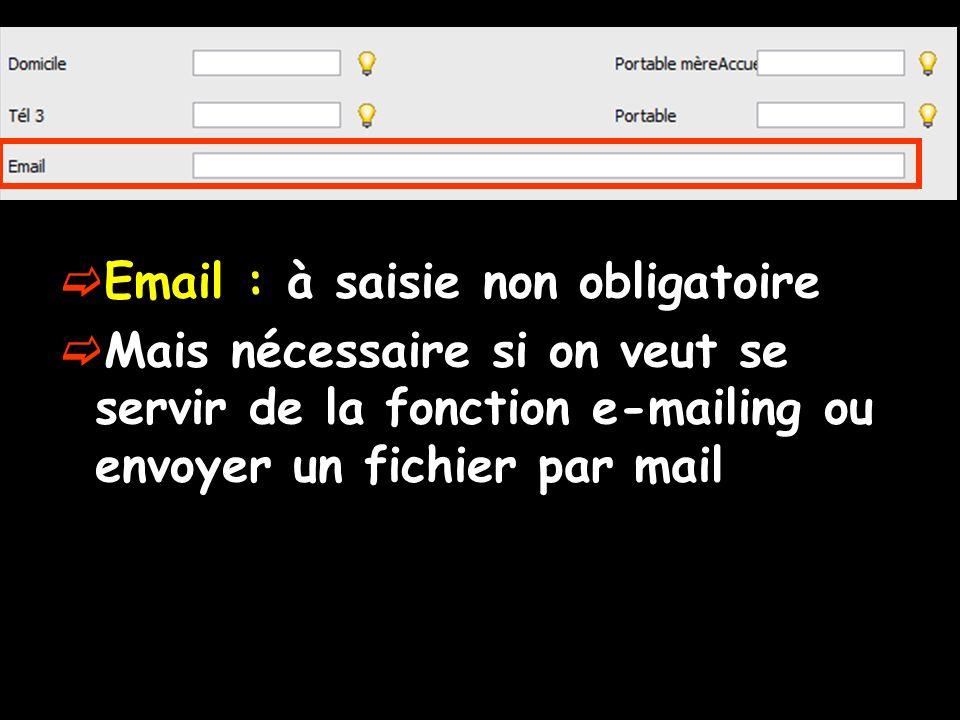 Email : à saisie non obligatoire