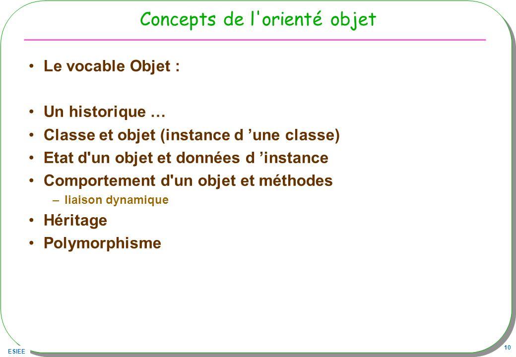 Concepts de l orienté objet