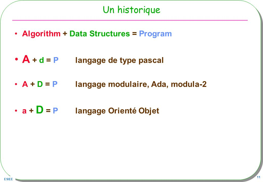 A + d = P langage de type pascal