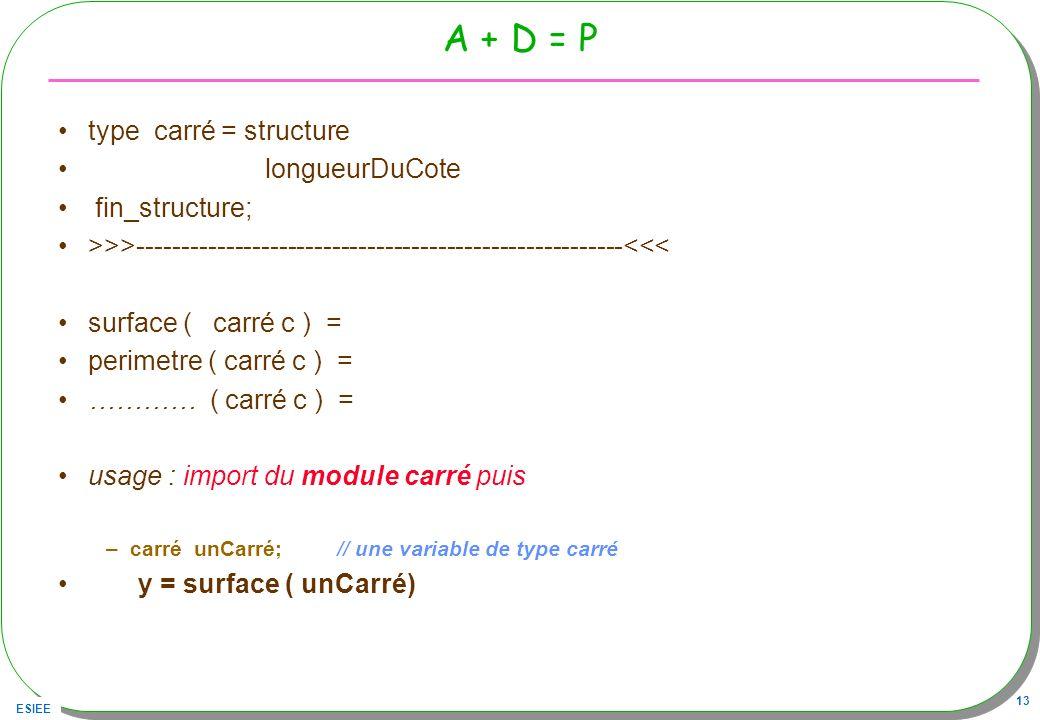 A + D = P type carré = structure longueurDuCote fin_structure;