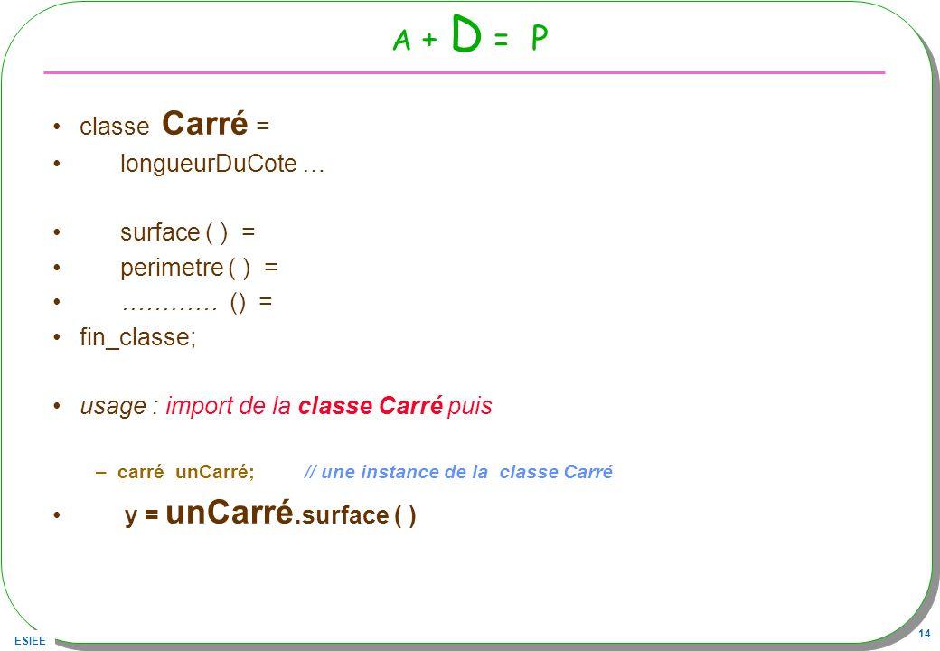 A + D = P classe Carré = longueurDuCote … surface ( ) =