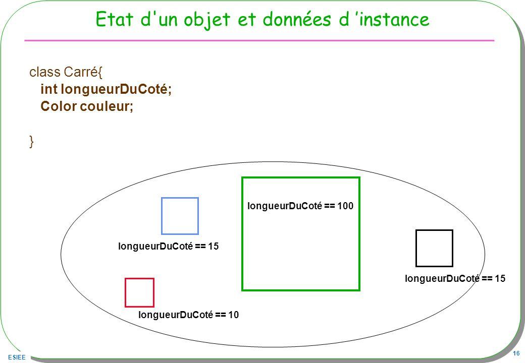 Etat d un objet et données d 'instance