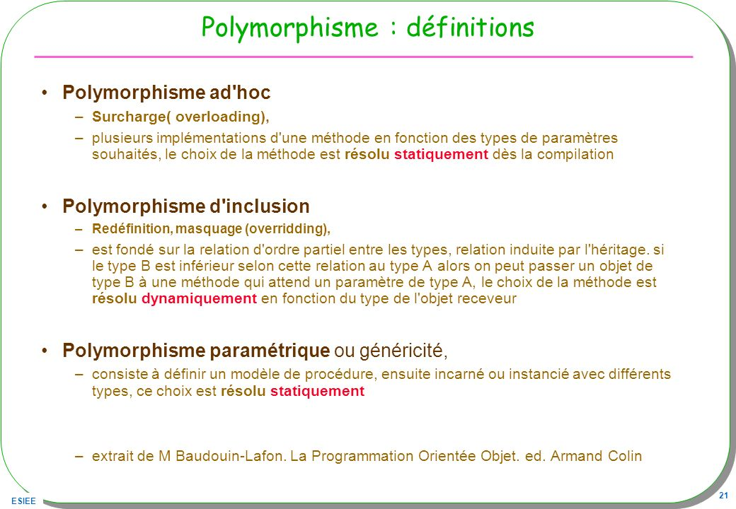 Polymorphisme : définitions
