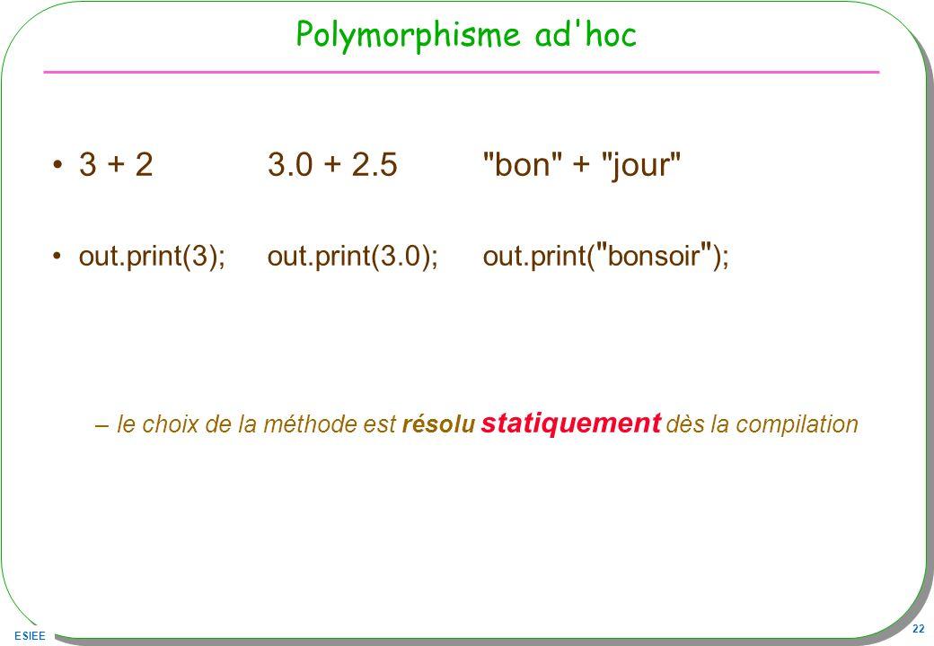 Polymorphisme ad hoc 3 + 2 3.0 + 2.5 bon + jour