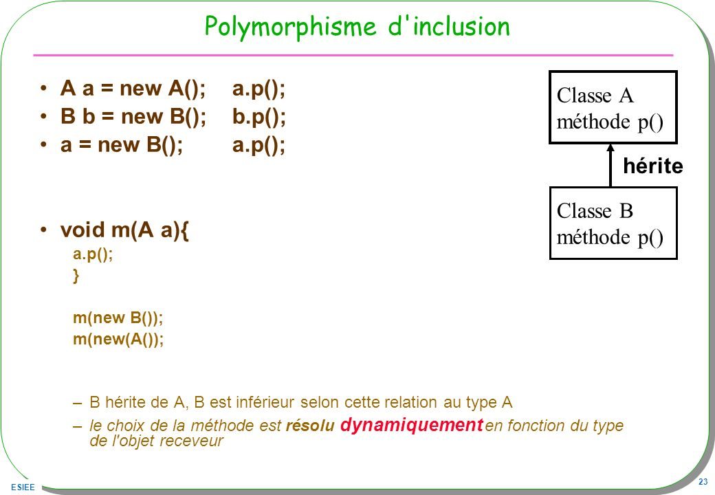Polymorphisme d inclusion