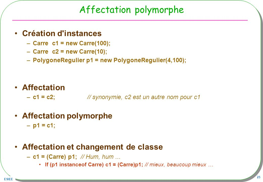 Affectation polymorphe