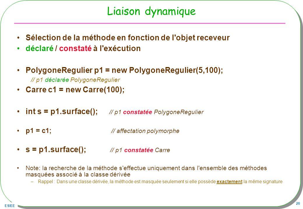 Liaison dynamique Sélection de la méthode en fonction de l objet receveur. déclaré / constaté à l exécution.