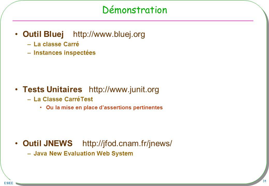 Démonstration Outil Bluej http://www.bluej.org