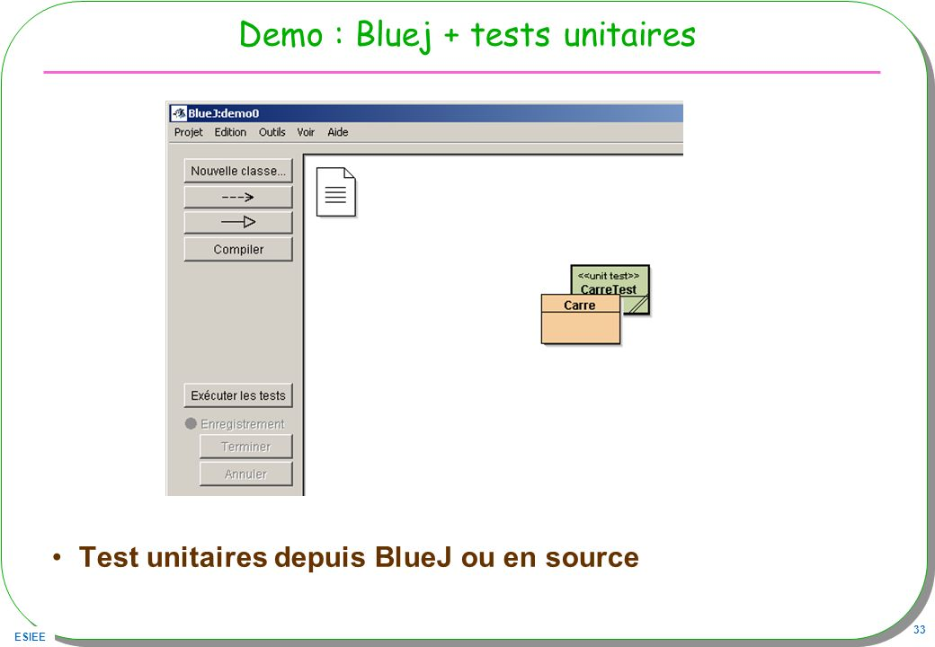 Demo : Bluej + tests unitaires