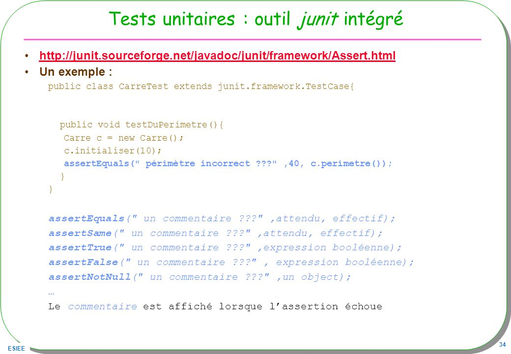 Tests unitaires : outil junit intégré