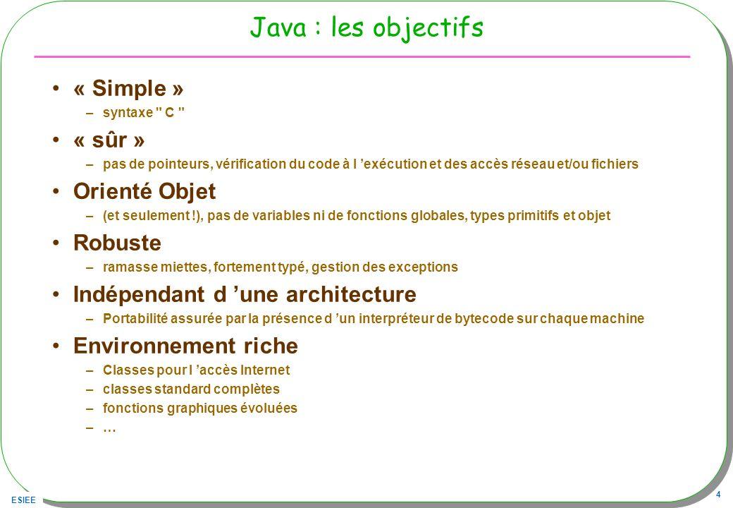 Java : les objectifs « Simple » « sûr » Orienté Objet Robuste