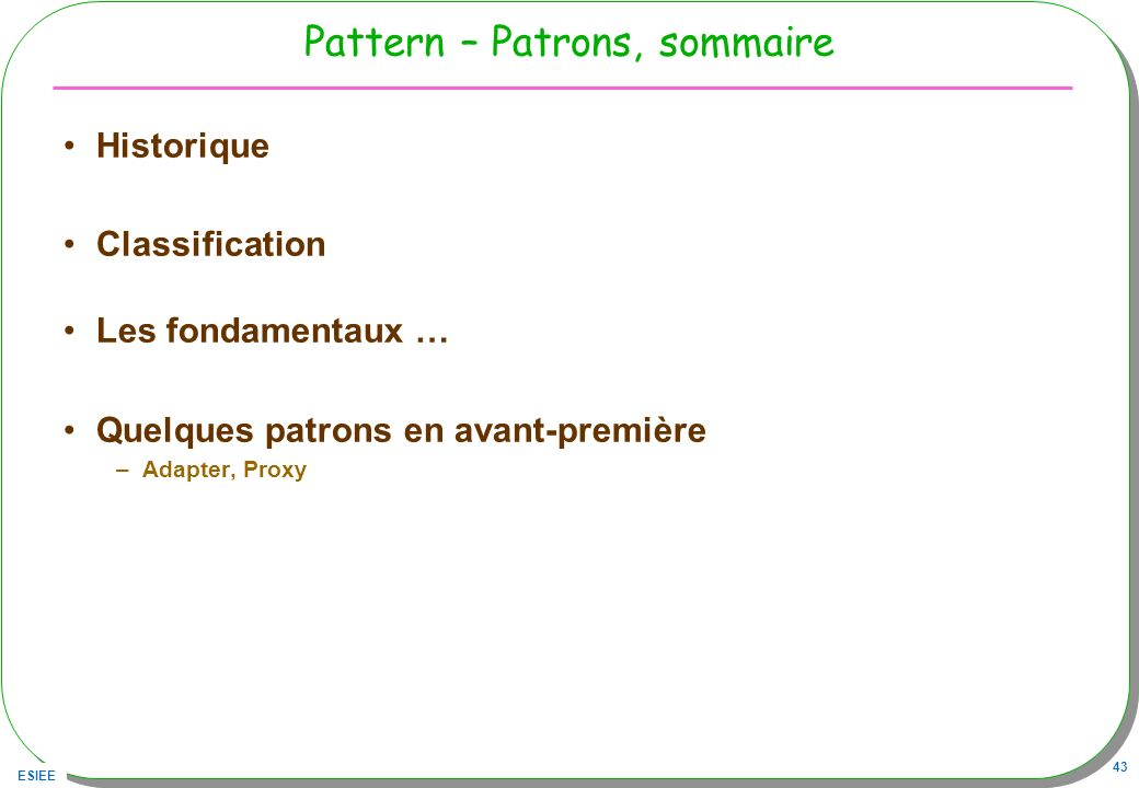 Pattern – Patrons, sommaire