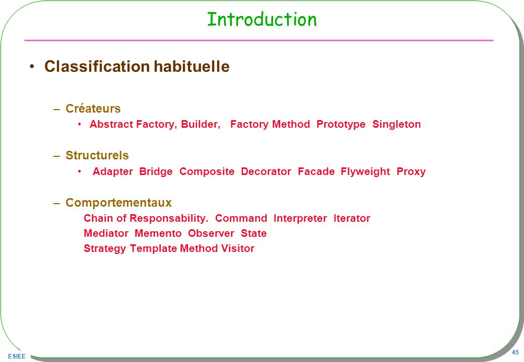 Introduction Classification habituelle Créateurs Structurels