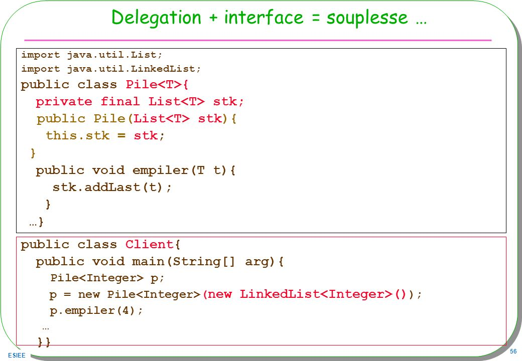 Delegation + interface = souplesse …
