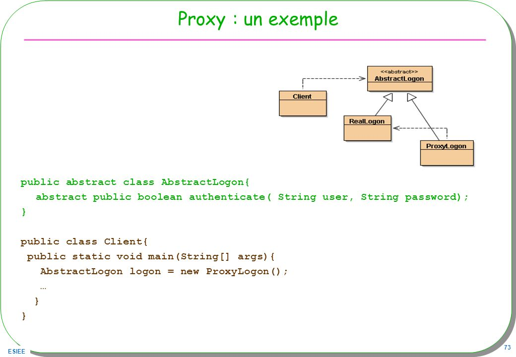 Proxy : un exemple public abstract class AbstractLogon{