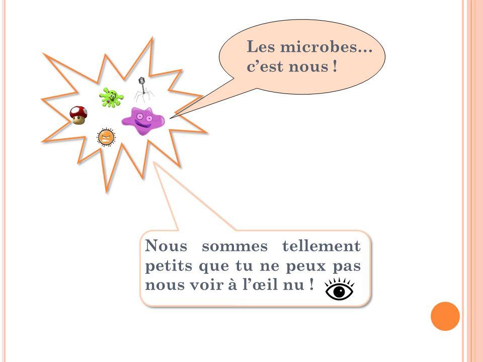 Les microbes… c'est nous ! Nous sommes tellement petits que tu ne peux pas nous voir à l'œil nu !