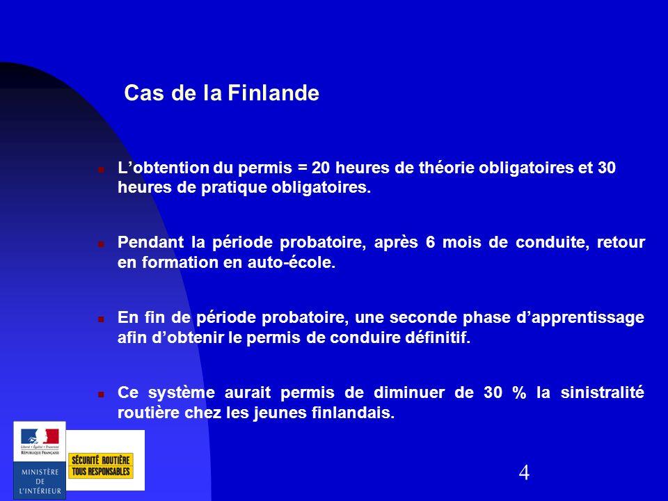Cas de la Finlande L'obtention du permis = 20 heures de théorie obligatoires et 30 heures de pratique obligatoires.