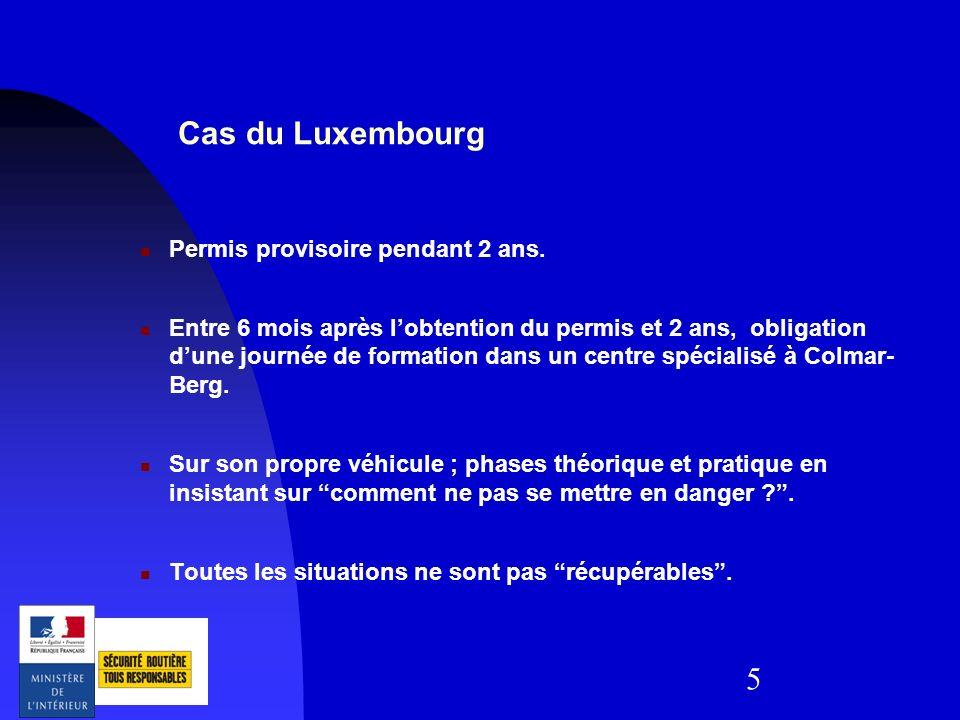 Cas du Luxembourg Permis provisoire pendant 2 ans.