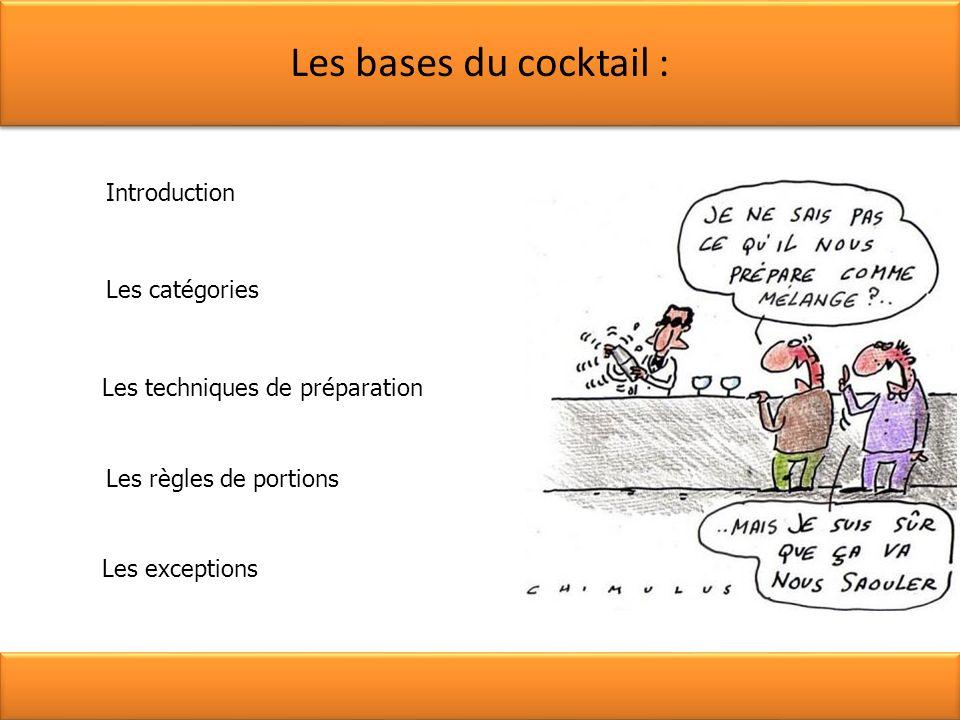 Les bases du cocktail : Introduction Les catégories