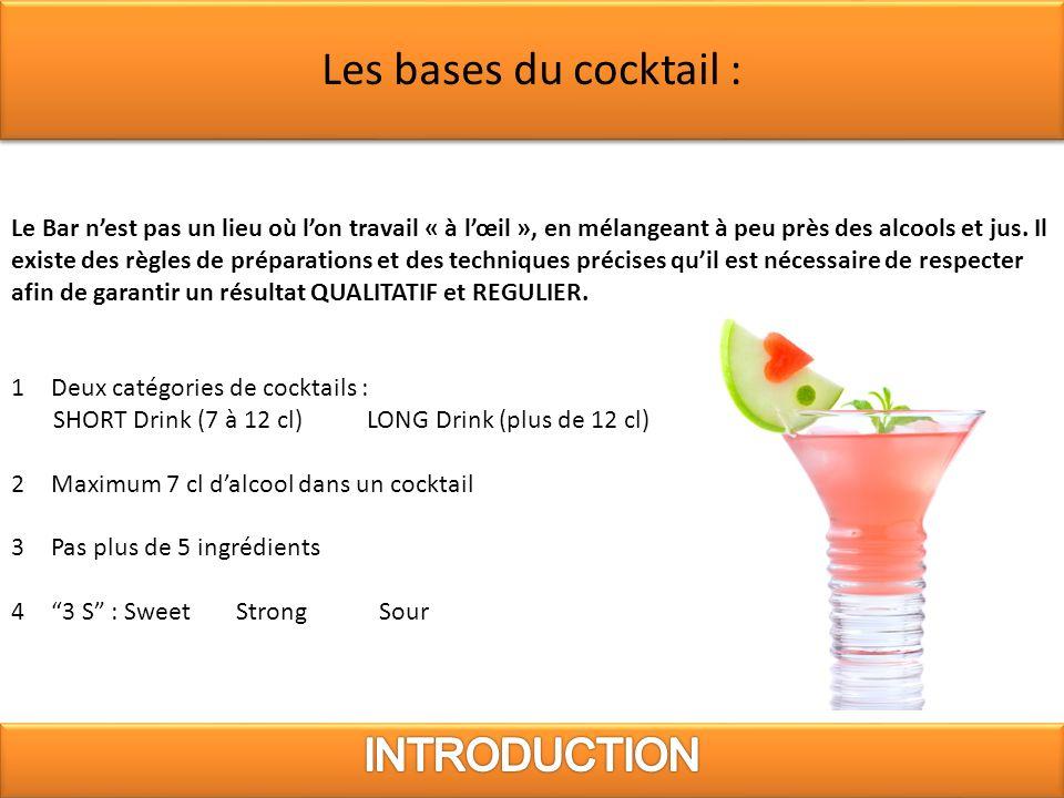Les bases du cocktail : INTRODUCTION
