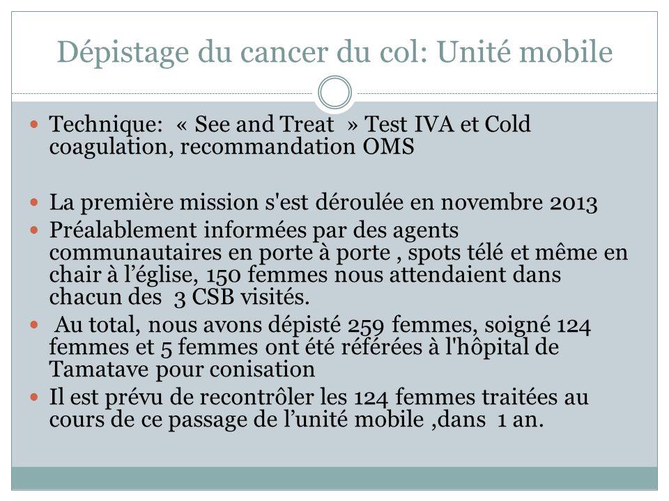 Dépistage du cancer du col: Unité mobile