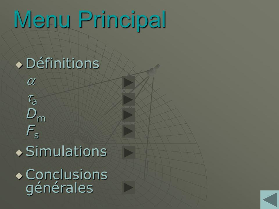 Menu Principal Définitions a ta Dm Fs Simulations