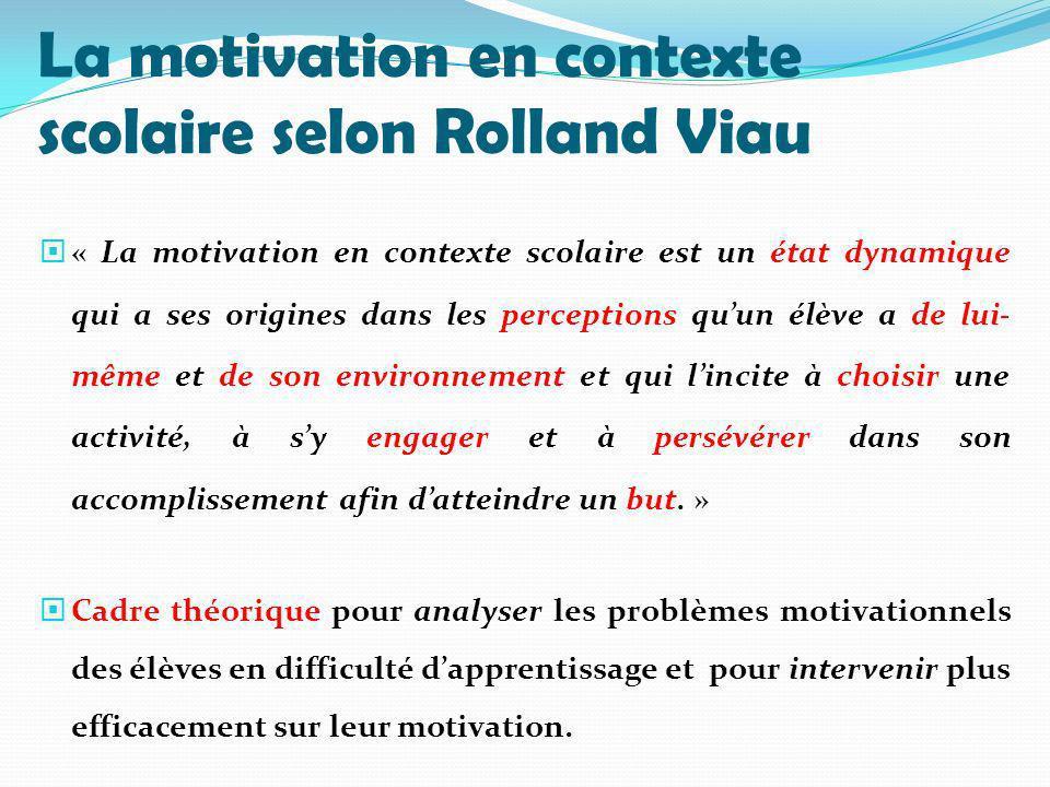 La motivation en contexte scolaire selon Rolland Viau