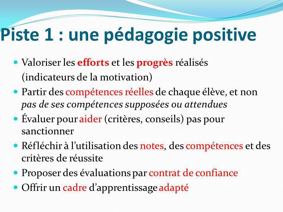 Piste 1 : une pédagogie positive