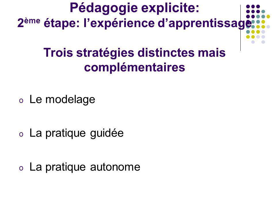Pédagogie explicite: 2ème étape: l'expérience d'apprentissage Trois stratégies distinctes mais complémentaires