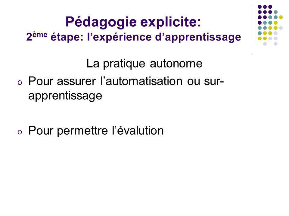 Pédagogie explicite: 2ème étape: l'expérience d'apprentissage