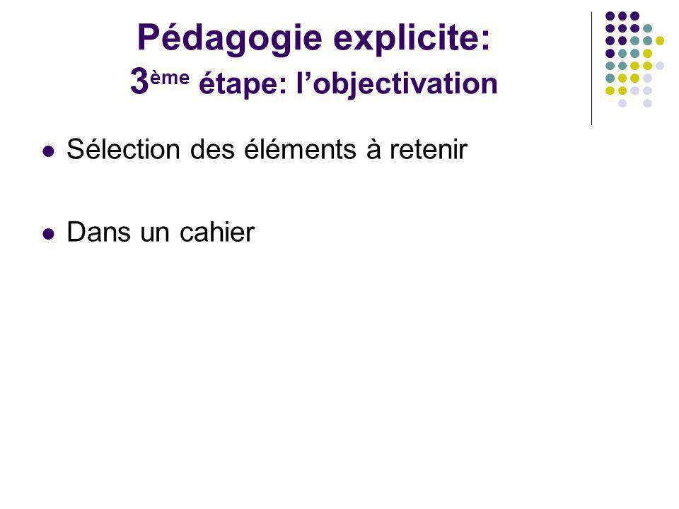 Pédagogie explicite: 3ème étape: l'objectivation
