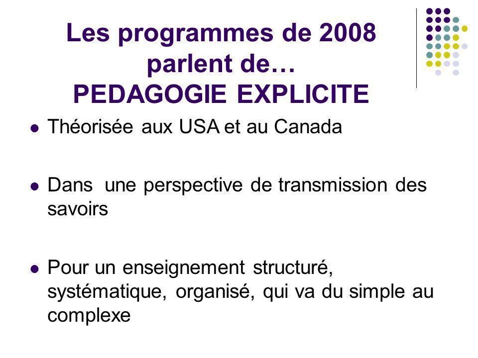 Les programmes de 2008 parlent de… PEDAGOGIE EXPLICITE