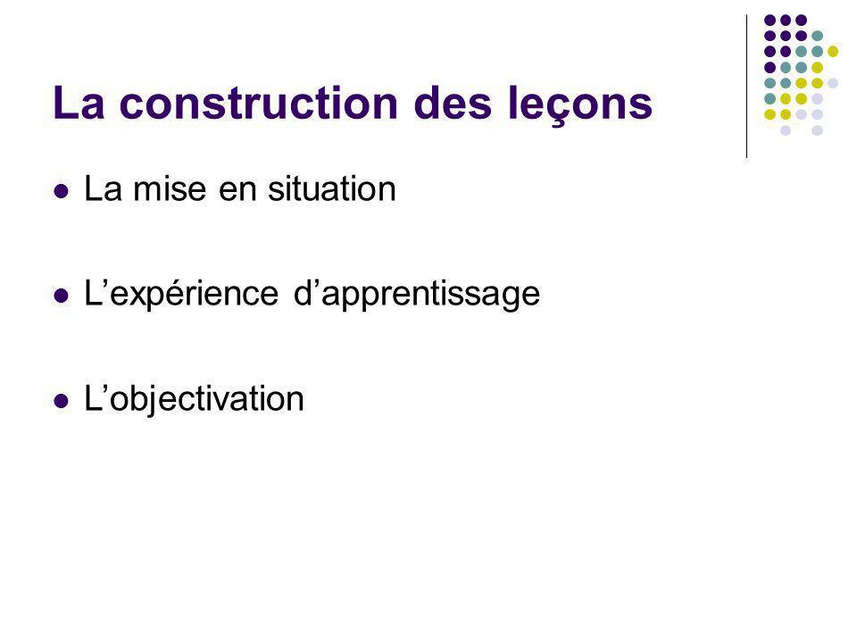 La construction des leçons