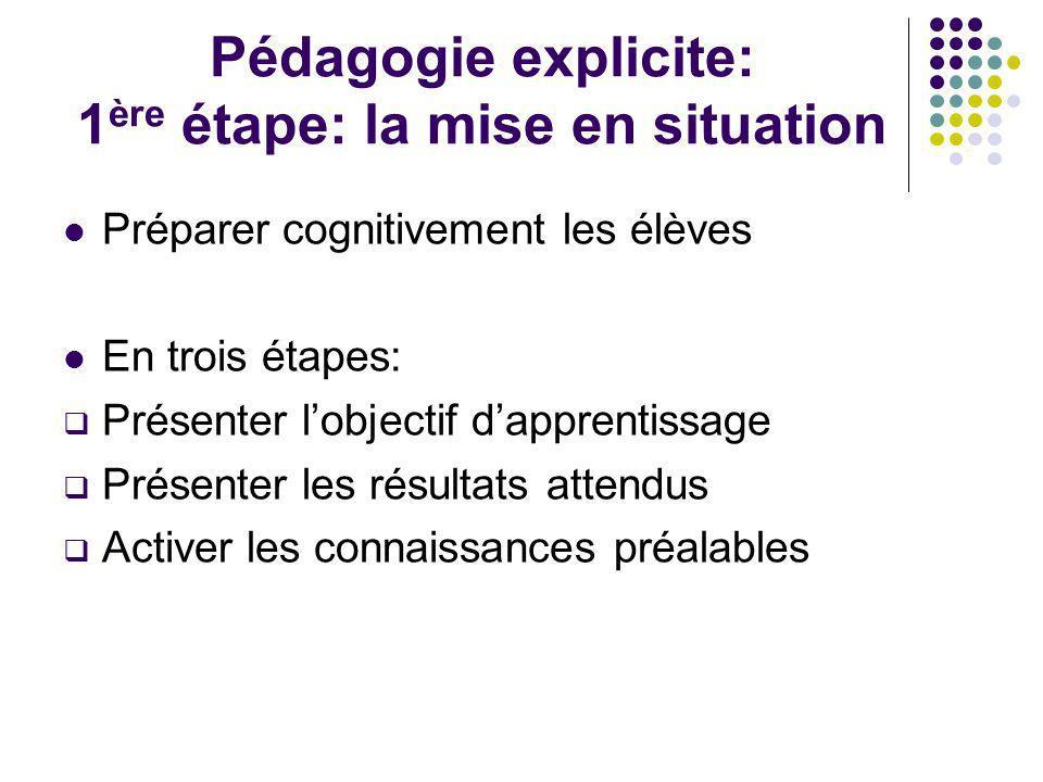 Pédagogie explicite: 1ère étape: la mise en situation