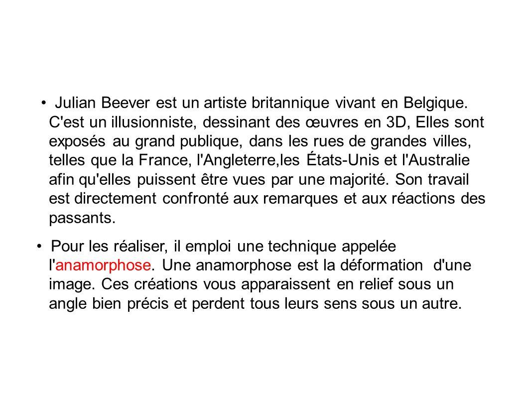 • Julian Beever est un artiste britannique vivant en Belgique