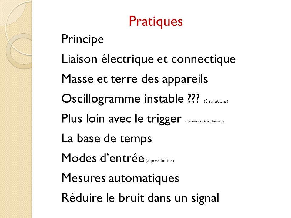 Pratiques Principe Liaison électrique et connectique