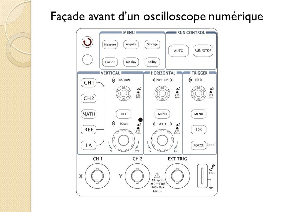 Façade avant d'un oscilloscope numérique