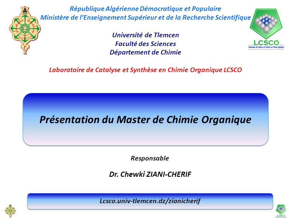 Présentation du Master de Chimie Organique