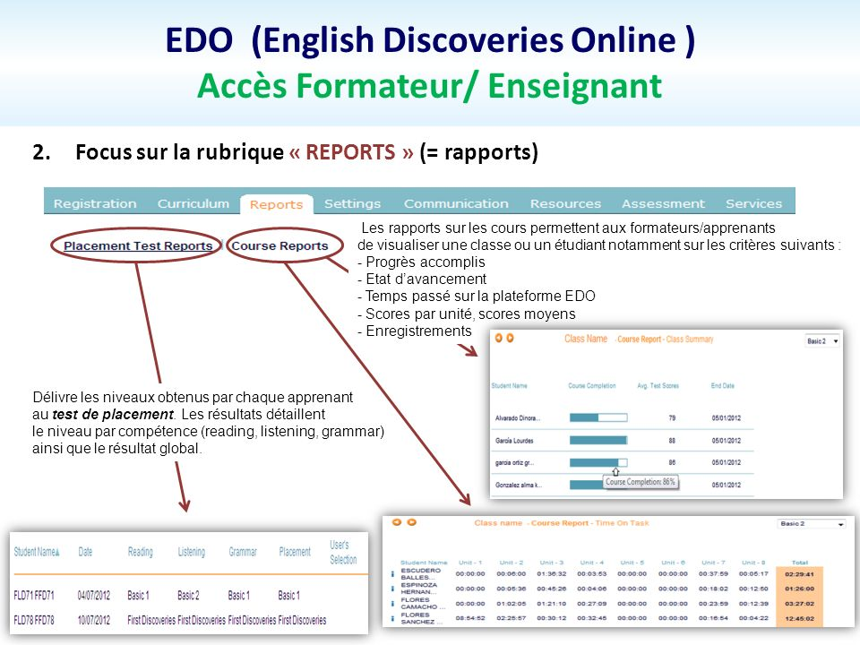 EDO (English Discoveries Online ) Accès Formateur/ Enseignant