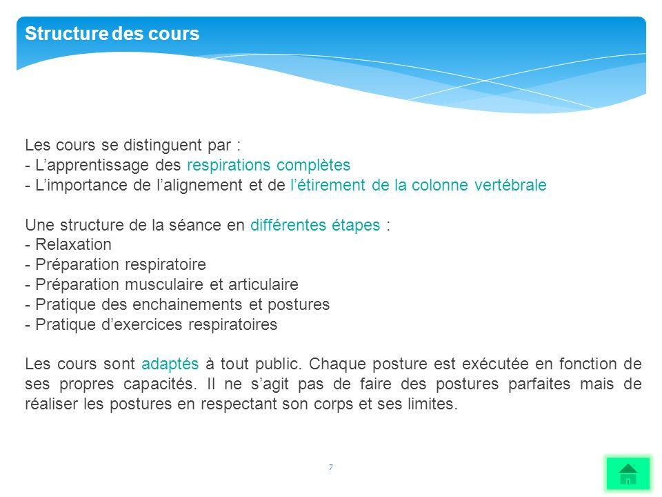 Structure des cours Les cours se distinguent par :