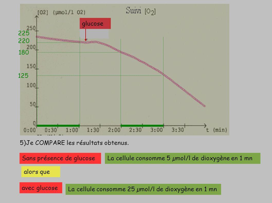 glucose 225. 220. 180. 125. 5)Je COMPARE les résultats obtenus. Sans présence de glucose. La cellule consomme 5 µmol/l de dioxygène en 1 mn.