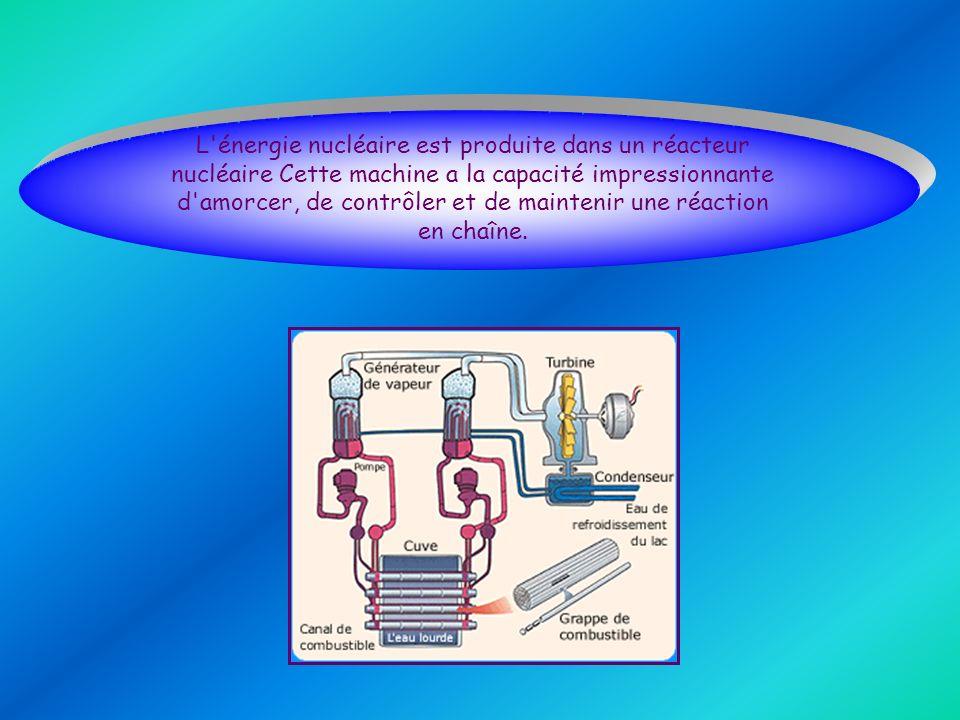 L énergie nucléaire est produite dans un réacteur nucléaire Cette machine a la capacité impressionnante d amorcer, de contrôler et de maintenir une réaction en chaîne.
