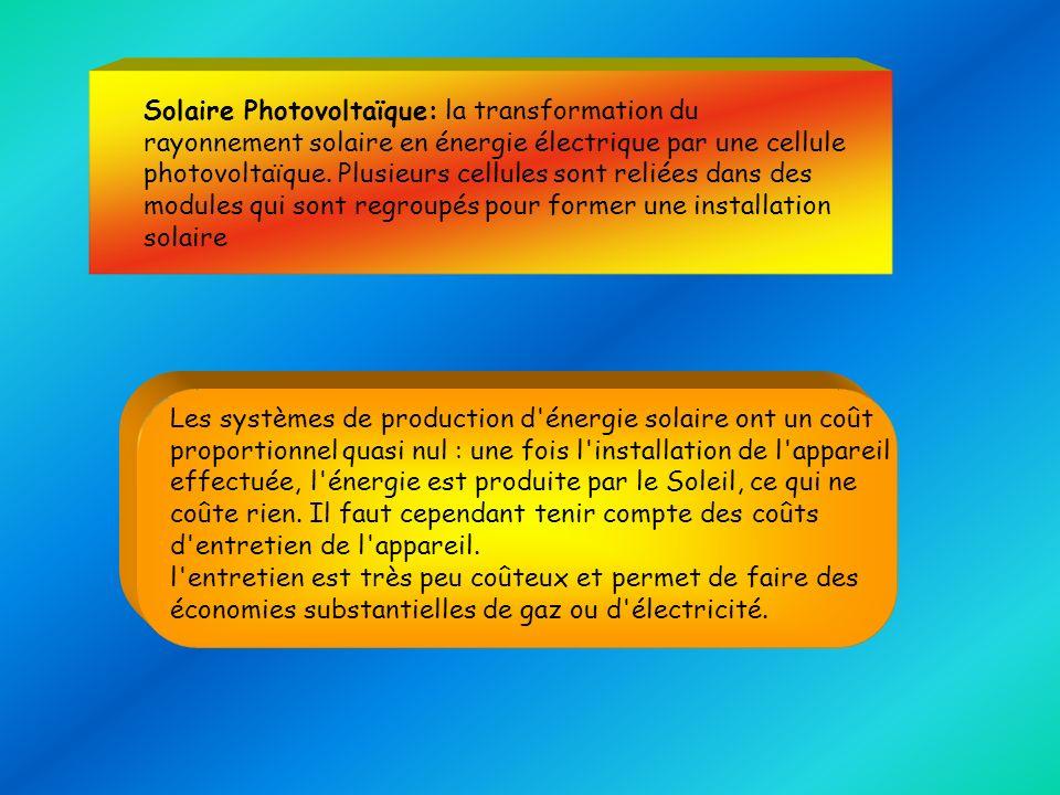 Solaire Photovoltaïque: la transformation du rayonnement solaire en énergie électrique par une cellule photovoltaïque. Plusieurs cellules sont reliées dans des modules qui sont regroupés pour former une installation solaire