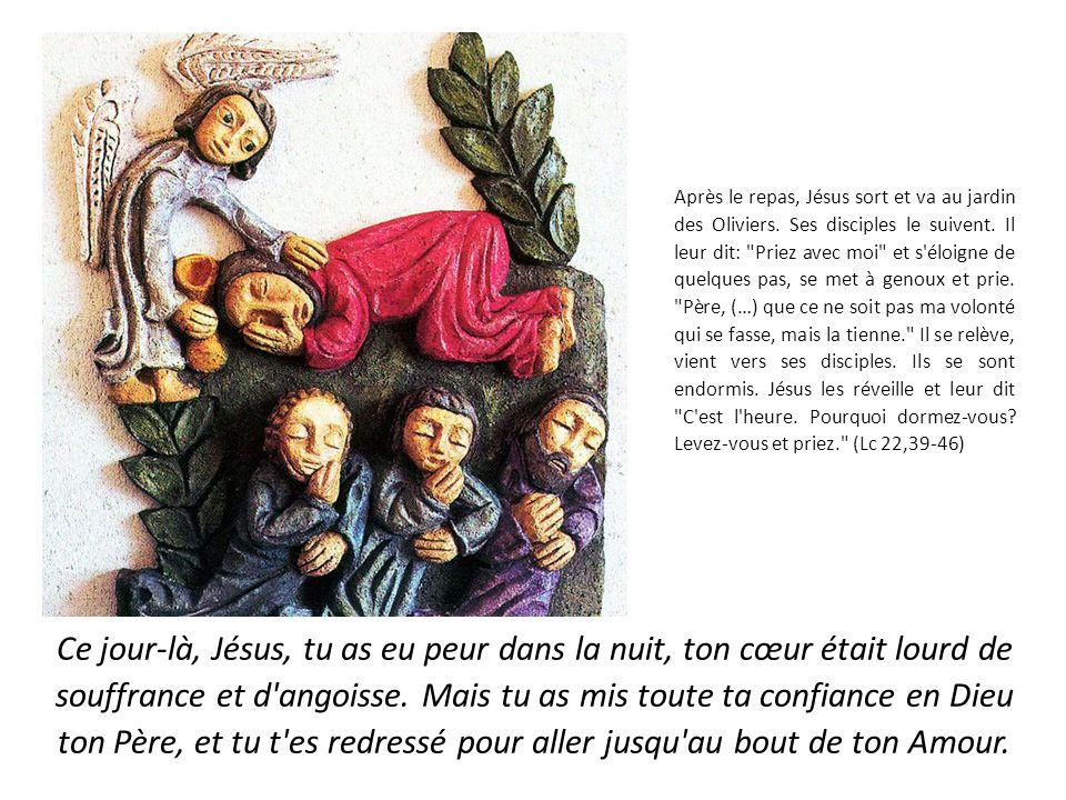 Après le repas, Jésus sort et va au jardin des Oliviers