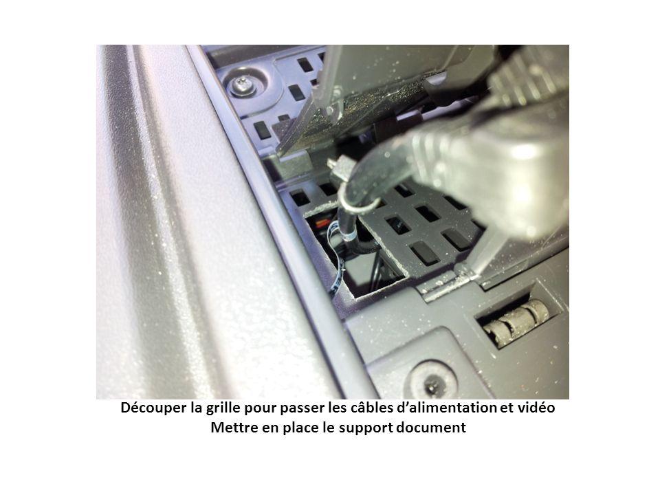 Découper la grille pour passer les câbles d'alimentation et vidéo Mettre en place le support document