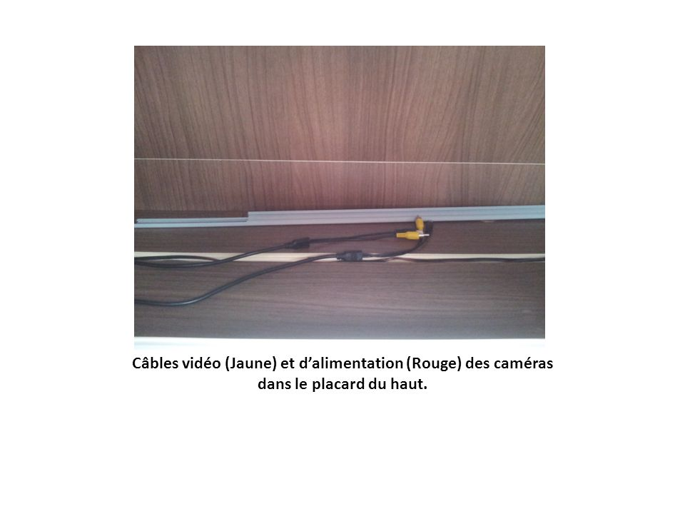 Câbles vidéo (Jaune) et d'alimentation (Rouge) des caméras dans le placard du haut.
