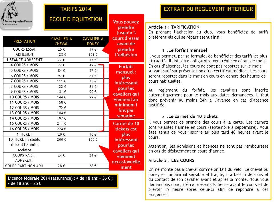 TARIFS 2014 ECOLE D EQUITATION EXTRAIT DU REGLEMENT INTERIEUR