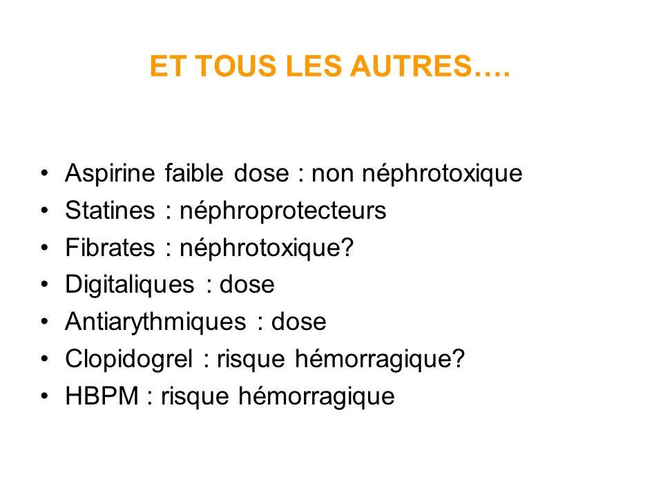 ET TOUS LES AUTRES…. Aspirine faible dose : non néphrotoxique