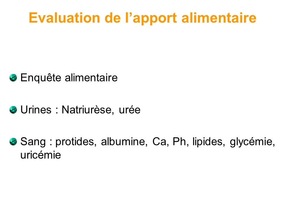 Evaluation de l'apport alimentaire